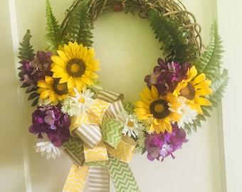 Grapevine floral spring wreath