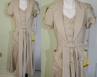 Vintage Woman's Late 1940's Beige Day Dress by Miss Jane Jr NWT