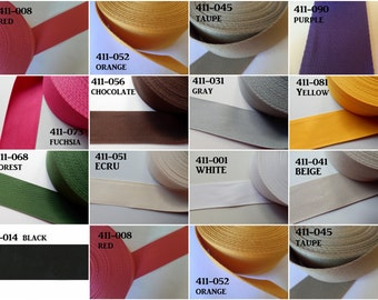 """2"""" Cotton/Polyester Webbing Strap in Colors by Stephanoise de Rubans Per Yard"""