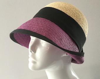 Straw quality Ecuador, Bell, hat was Ecru color, purple, black ribbon, classic headwear