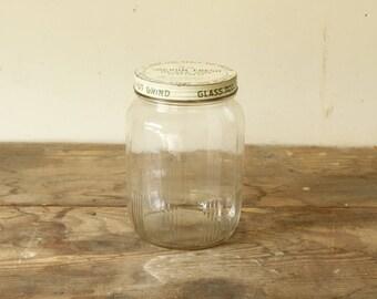 Vintage Pantry Jar Advertising Jar Kitchen Canister Storage Rustic Kitchen Cookie Jar Glass with Metal Lid