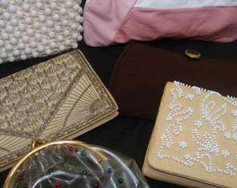 Vintage purse lot-old collection- beaded clutch-leather handbag bags