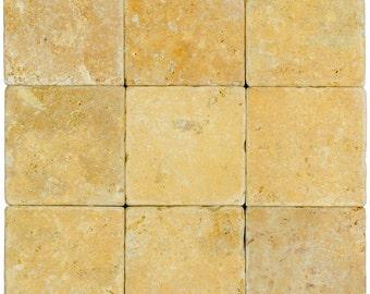 Gold Tumbled Travertine Mosaic Tiles 4×4 (9 Pieces per order)