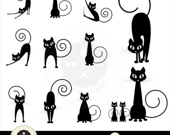 Cat Silhouettes Clipart_1, cat clipart black, cat clipart,silhouettes clipart, digital download-BUY 1 GET 1 FREE! Use Code: 1GET12016