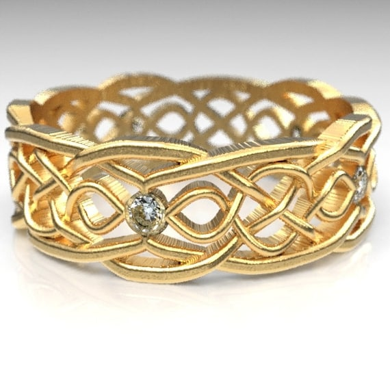 Gold Celtic Wedding Ring With Cut-Through Infinity Symbol Pattern & Moissanite Stones in 10K 14K 18K or Palladium, Made in Your Size Cr-1049