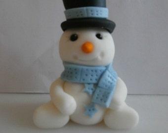 Edible sugar paste Snowman. Christmas cake topper.cake decoration,fondant cake topper