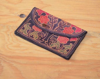 Lovely Vintage 70's Wallet Unique Tooled Floral Pink & Purple Patterned Leather Boho Hippie Style