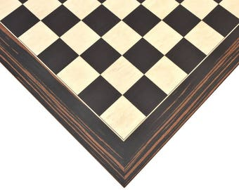 """Wooden Deluxe Black Died Poplar & White Erable with Matte Finish Chess Board 22"""" - 55 mm - B1032"""