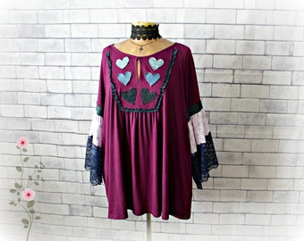 Plus Size Blouse Purple Boho Top Heart Clothes Women Peasant Shirt Recycled Clothing Country Tunic Gypsy Bohemian Flare Sleeve 2X 'GRETCHEN'