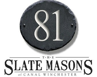 1/2 Digit Number Address Plaque Marker  ( Carved Slate ) Sign plaque Modern House Numbers