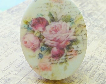 Plastic Cabochons - 40x30mm Romantic French Rose (8-49-2)