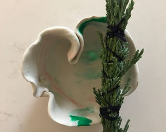 Smudge gift set - white, orange and green polymer clat sculpted bowl with mini juniper smudge bundle