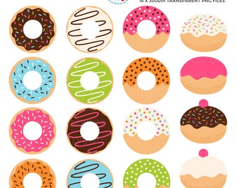 Donuts Clipart Set - clip art set of donuts, doughnuts, cute donuts, donuts clipart - personal use, small commercial use, instant download