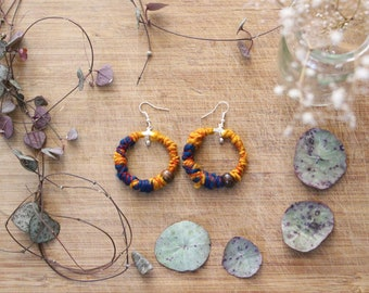 Earrings ethnic wool teal and mustard yellow, hoops of inspiration mobile