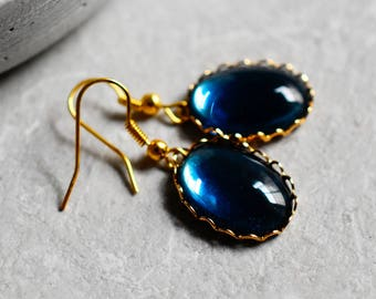 "70s vintage earrings ""The Blue Night"" (VINOHR-116)"