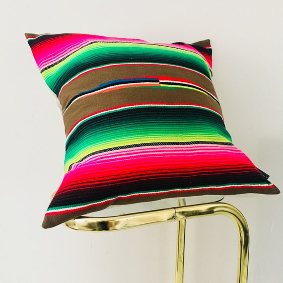 "Boho Brown Serape Pillow Cover 20""x20"" Square Cushion Pillow Rainbow Stripes Ethnic Bohemian Upcycled Mexican Blanket Colorful Striped Motif"