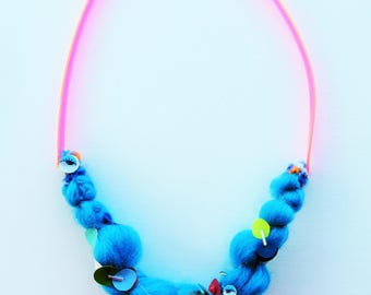 colorful statement necklace unique necklaces for her, modern necklace, unique gift for her, bold textile necklace. blue necklace,