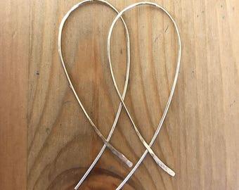 Threader hoop earrings, 14k gold filled, 14K gold filled, sterling silver rose gold fill earrings, hypoallergenic, bridesmaid gift