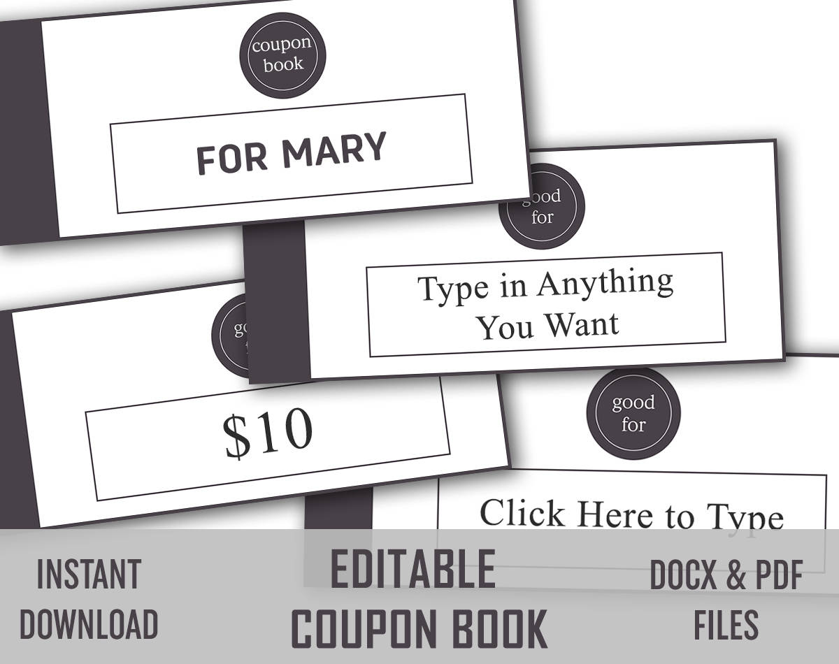 EDITABLE Love Coupon, Love coupon book, Editable Coupon Template ...
