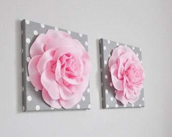 Light Pink Fabric Roses Nursery Decor | 3D Wall Art | Polka Dot Nursery, Pink and Gray Bedroom Wall Art, Custom Wall Decor, Baby Shower Art