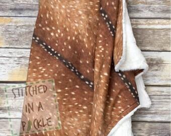 deer skin blanket, minky blanket, deer crib bedding, deer skin crib bedding, deer skin woodland blanket, woodland minky, hunting nursery