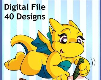 Instant Download - Printable Dragon Fun Colouring Book