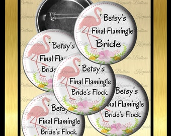 "Flamingo Wedding Party, Final Flamingle, 2.25"" Custom Bachelorette Party Buttons, Florida Bridal Party, Bride's Flock, Tropical Wedding"