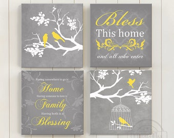 Birds on Bbranch Living Room Decor - Canvas Wall Art - Home Blessing Family Quote Bedroom Wall Decor