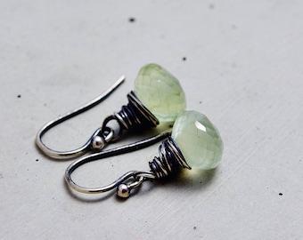Light Green Crystal Earrings, Prehnite Earrings, Spring Green, Pastel Green, Sterling Silver
