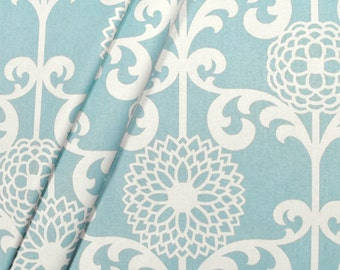 Modern Blue Spa Fabric, Beach/Ocean Blue/White Drapery/Upholstery Fabric,
