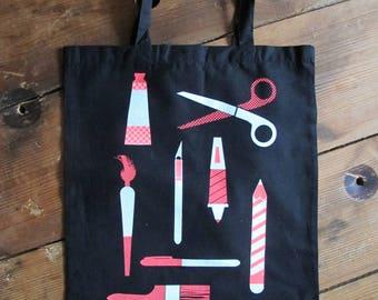 Craft Theme screen printed tote bag