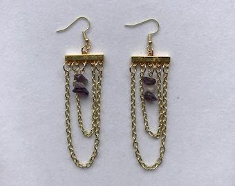 Gold Chandelier Earrings with Amethyst