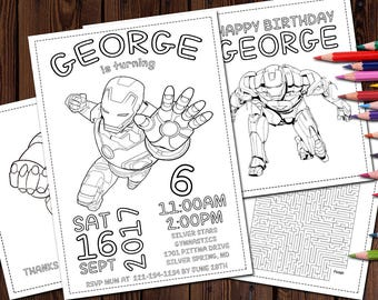 Iron Man Birthday Coloring Pages, Party Favor Personalized Digital Printable Birthday coloring pages Set 4 Avengers Birthday Coloring