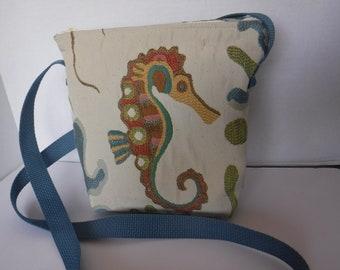 Seahorse & Octopus Fabric Crossbody Bag