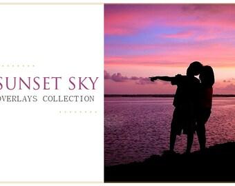 65 Sunset Sky Photoshop Overlays: Professional Photo Layer, Editing Background Backdrops for photographers, Photoshoot Enhancement Tool