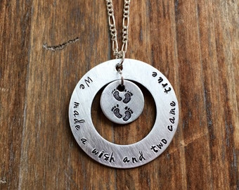 We made a wish and two came true hand stamped necklace mom of twins hand stamped twins expected mother of twins jewelry mom of twins jewelry