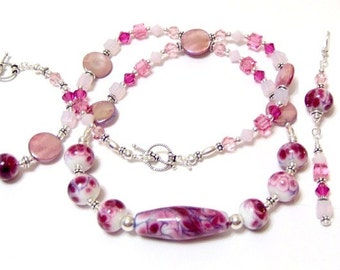 Raspberry Sorbet Magenta, Fuchsia and Pink Lampwork Swarovski Full Set Necklace Bracelet and Earrings Signature Design From Beads By Brenda