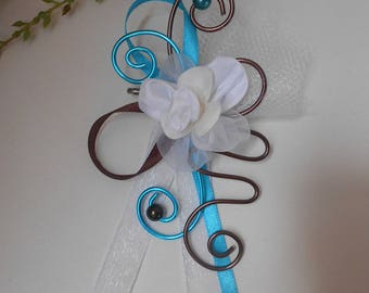 Back train - PIN for bride - chocolate and white Turquoise