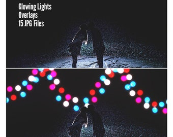 Glowing Lights, Fairy Lights Overlay, Lights Overlays, Garden Lights Overlay, Light Overlay, Photo Overlay, Glowing Lights Overlay