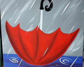 "April Showers Umbrella & Rain Canvas Painting - Acrylics on 16"" x 20"" canvas One-of-a-kind, original painting artwork"