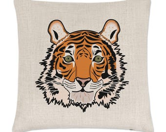 Tiger Face Linen Cushion Cover