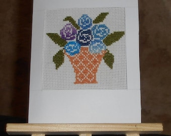 Embroidered on canvas with blue flowers in a basket card