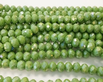 90 Green Rondelle Beads, 4x6mm Faceted Glass Beads , Spacer Beads, Bead Supply, Green faceted rondelle beads, rondelle beads, r28
