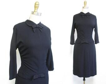 Vintage 1950s Dress | Classic Little Black Dress | 1950s Wiggle Dress | size small