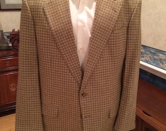 Metallic Checkered Blazer - 1980s - Mens - Gold, Black - Mark Shale - Large 46R - Preppy - Casual