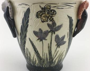 Hummingbird Sgraffito Vase