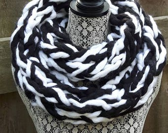 Scarf, Black and White Scarf, White and Black Scarf, Long Scarf, Winter Scarf, Accessory, Black and White Accessory