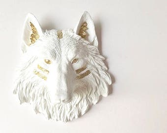 WHITE GOLD SMaLL Wolf Head wall mount, Faux Taxidermy animal head wall hanging, Small Faux Animal Head, White Wolf , Wolf wall art, Nursery