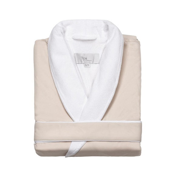 SPA ROBE Personalized Luxury for Weddings, Anniversaries, Graduations - 80 percent cotton terry / 20percent microfiber polyester exterior