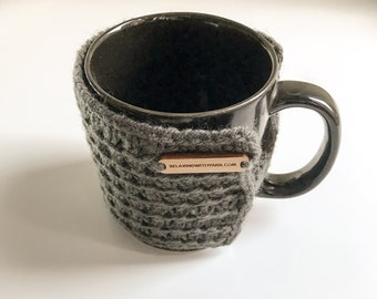Button Up Coffee Cozy Large Medium Tea Mug Cup Warmer Handmade Knitted Stretchy Cozies Coffee Tea Hot Chocolate Lover Gift Present Set